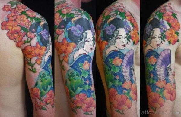 Colorful Geisha Tattoo