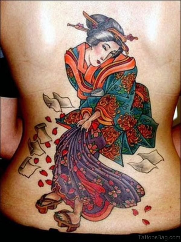 Colorful Geisha Tattoo On Back Of Body