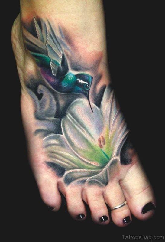 Colorful Hummingbird Tattoo On Foot