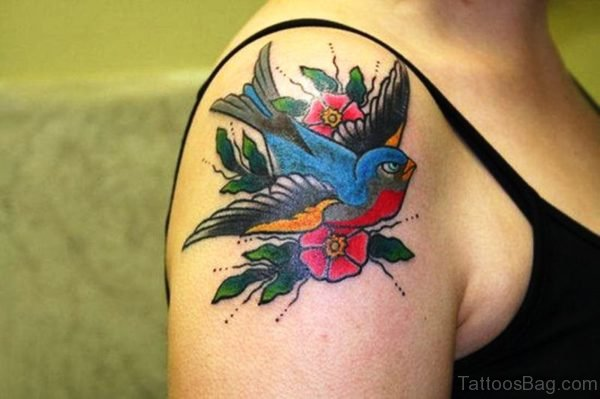Colorful Hummingbird With Flowers Tattoo On Right Shoulder