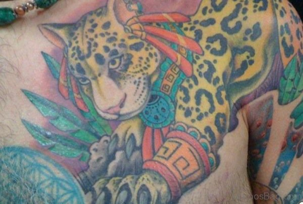 Colorful Jaguar With Aztec Tattoo