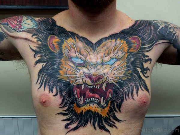 Colorful  Lion Tattoo On Chest