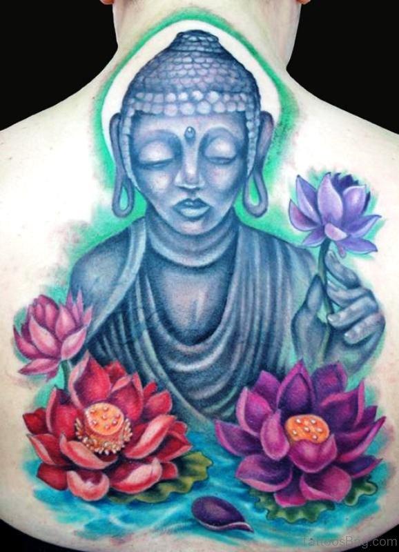 Colorful Lotus With Buddha Tattoo