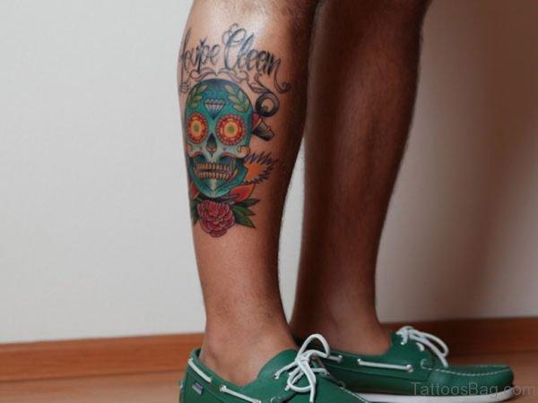 Colorful Mexican Gangster Sugar Skull Tattoo On Leg