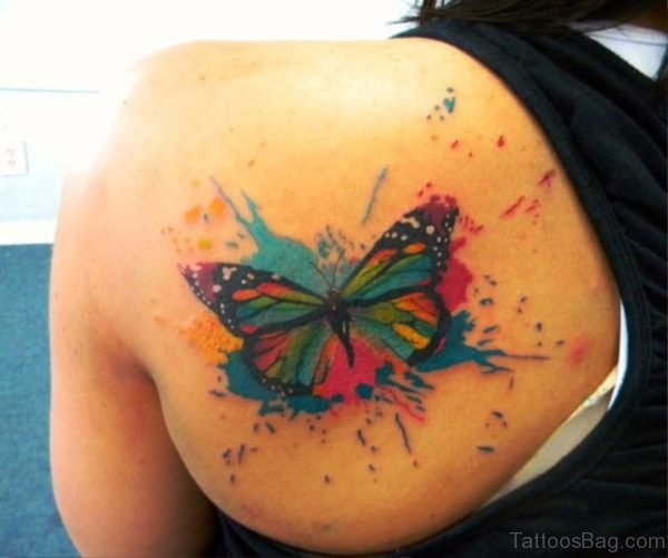 Colorful Modern Butterfly Tattoo Design