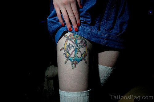 Colorful Nautical And Anchor Tattoo On Thigh