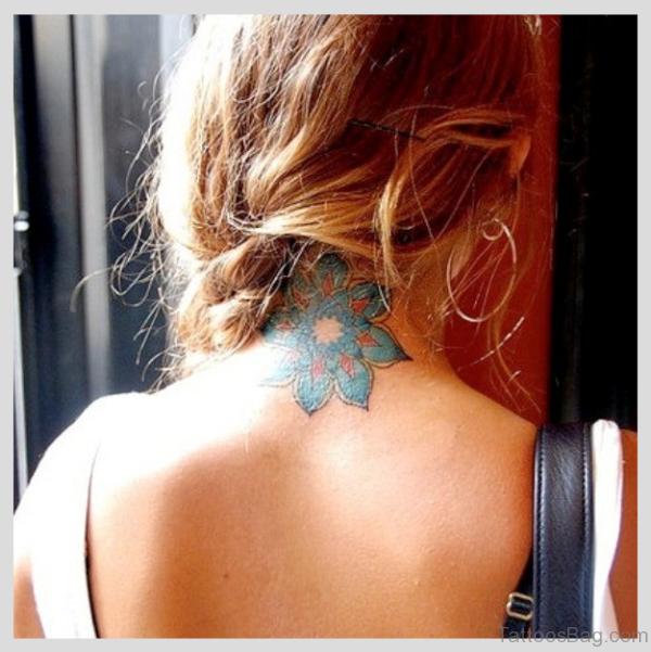 Colorful Neck Lotus Tattoo