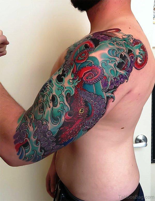 Colorful Octopus Full Sleeve Tattoo
