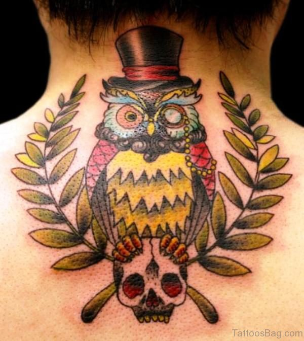 Colorful Owl With Skull Tattoo