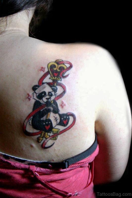 Colorful Panda Shoulder Tattoo Design