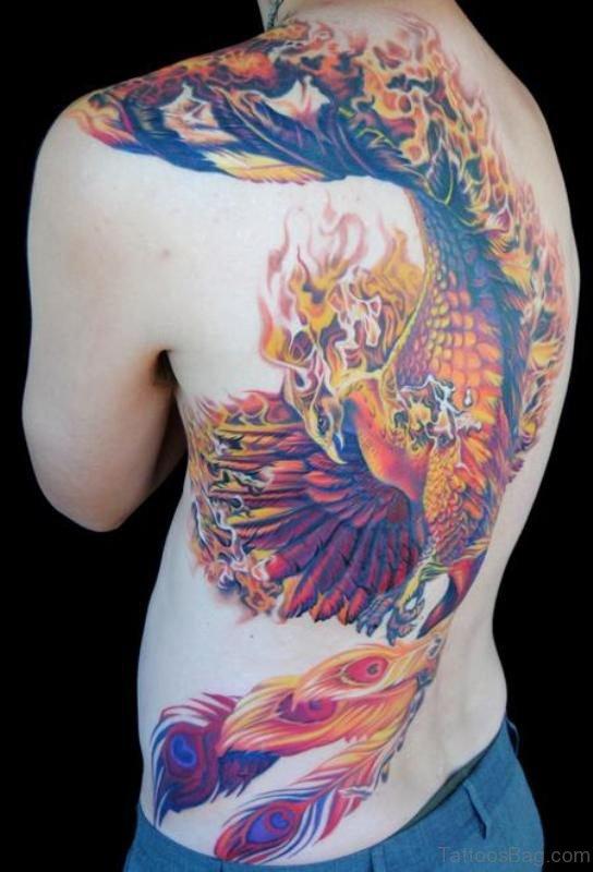Colorful Phoenix Shoulder Back Tattoo