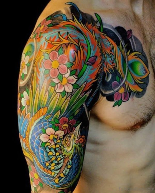 Colorful Phoenix Tattoo On Right Shoulder