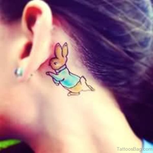 Colorful Rabbit Tattoo On Neck