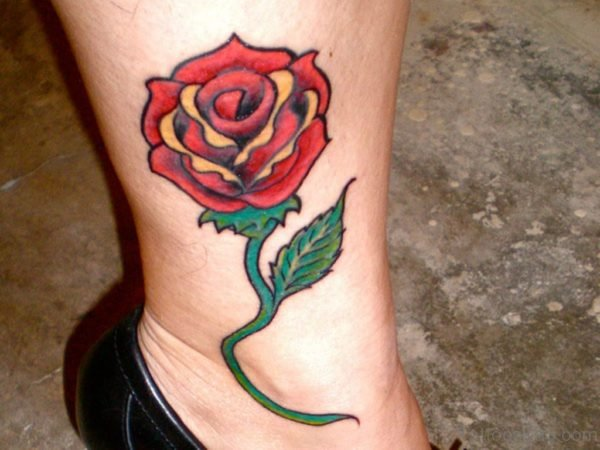 Colorful Rose Tattoo On Leg