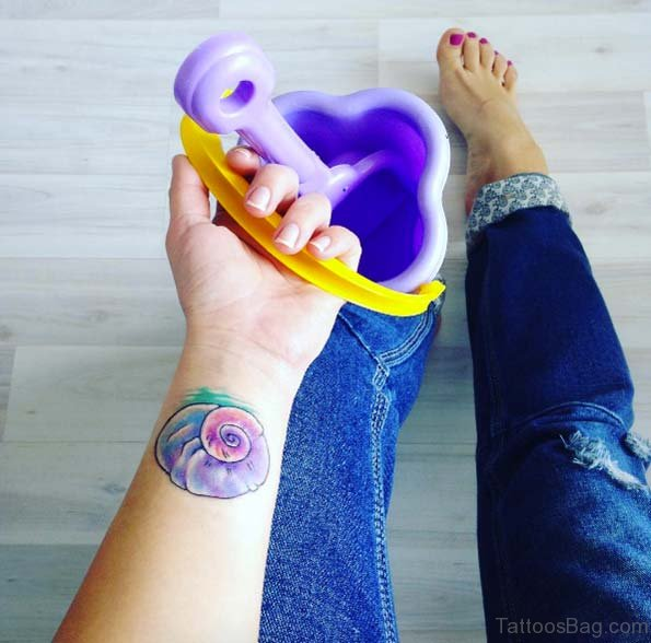 Colorful Seashell Tattoo On Wrist