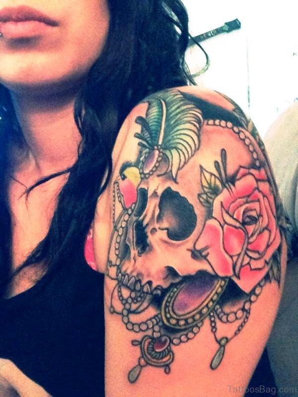 Colorful Skull Shoulder Tattoo