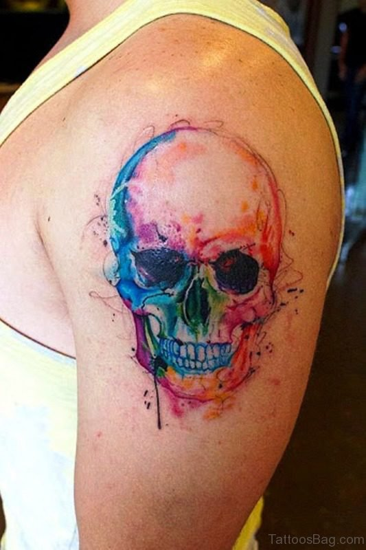 Colorful Small Skull Tattoo