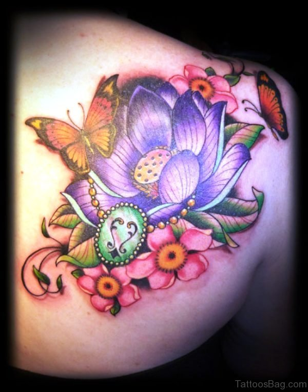 Colorful Three Butterfly Tattoo