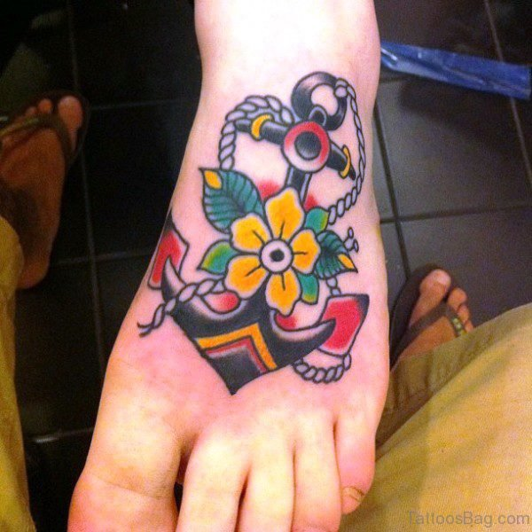 Colorful Traditional Anchor Tattoo With Flower