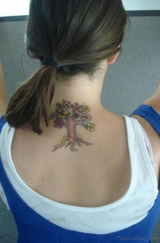 Colorful Tree Tattoo On Neck