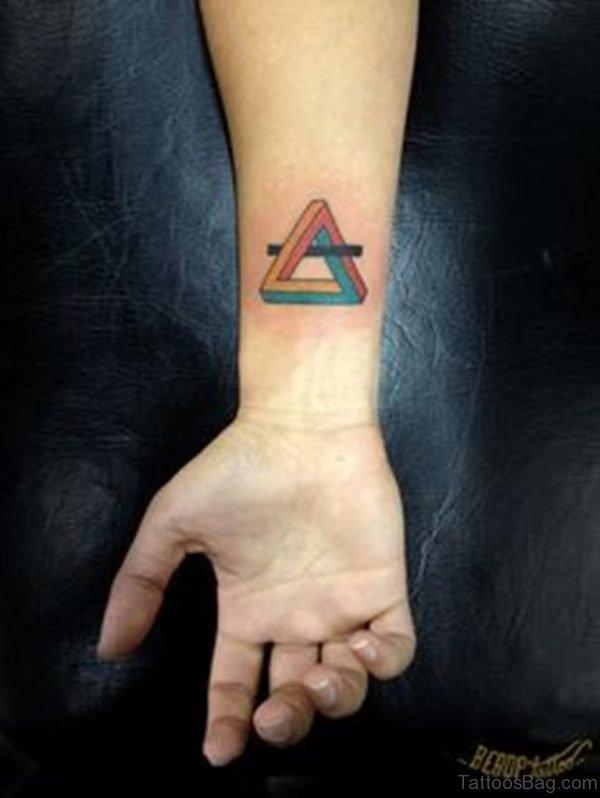 Colorful Triangle Wrist Tattoo