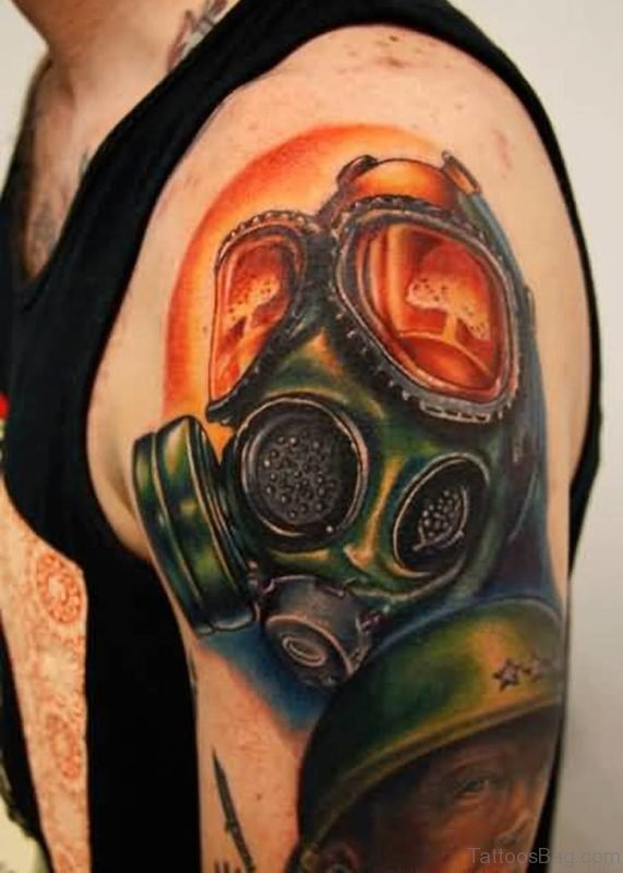 Colorful Zombie Gas Mask Tattoo On Left Shoulder