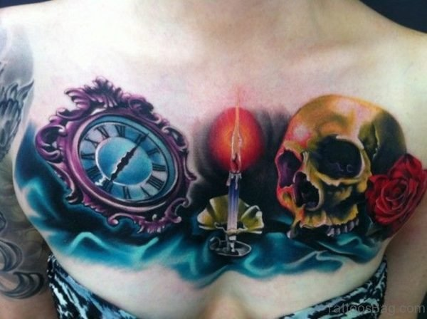 Colored Clock And Burning Candle With Skull Tattoo