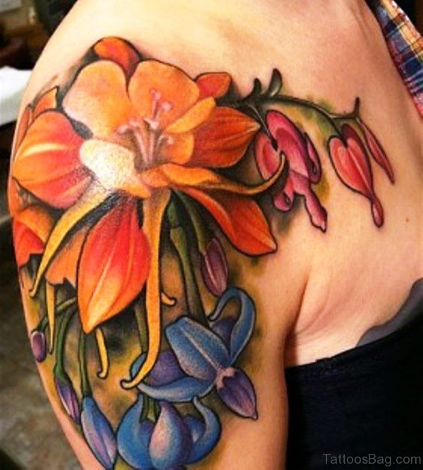 Colourful Flowers Shoulder Tattoo