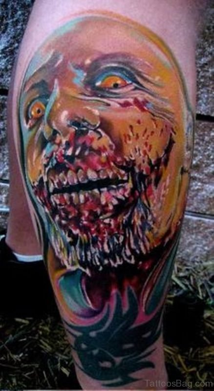 Colorful Zombie Face Tattoo