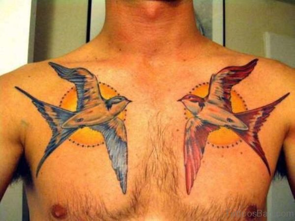 Colroed Flying Birds Tattoo