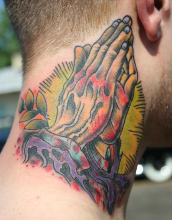 Colroed Praying Hands Tattoo