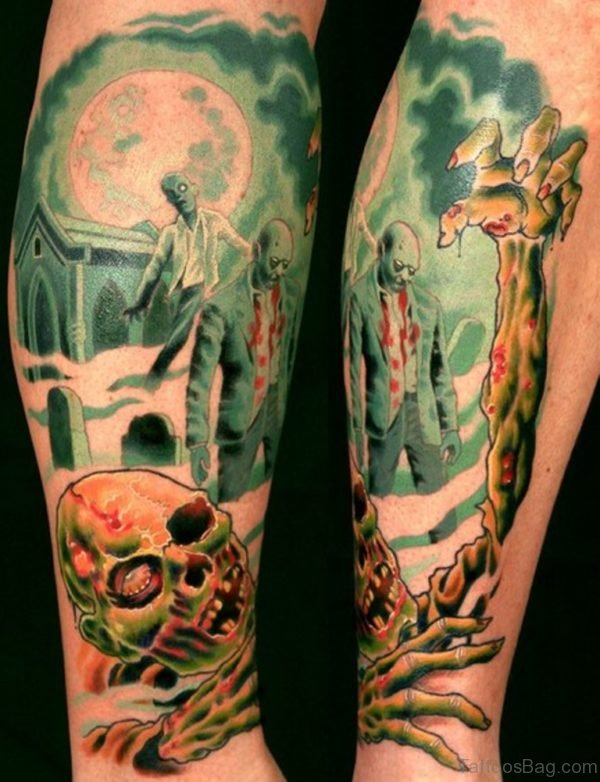 Colored Zombie Tattoo