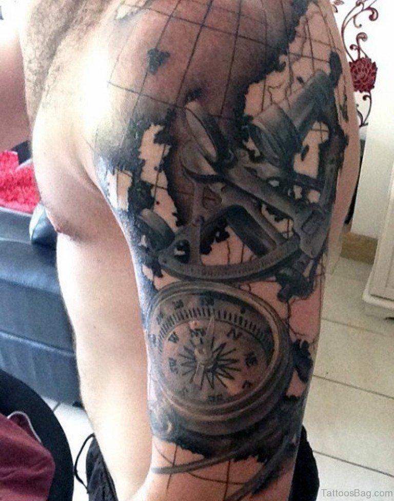 49 funky map tattoos on shoulder. Black Bedroom Furniture Sets. Home Design Ideas