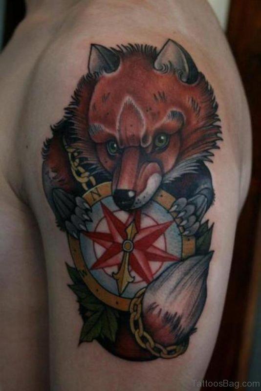 Compass And Fox Tattoo