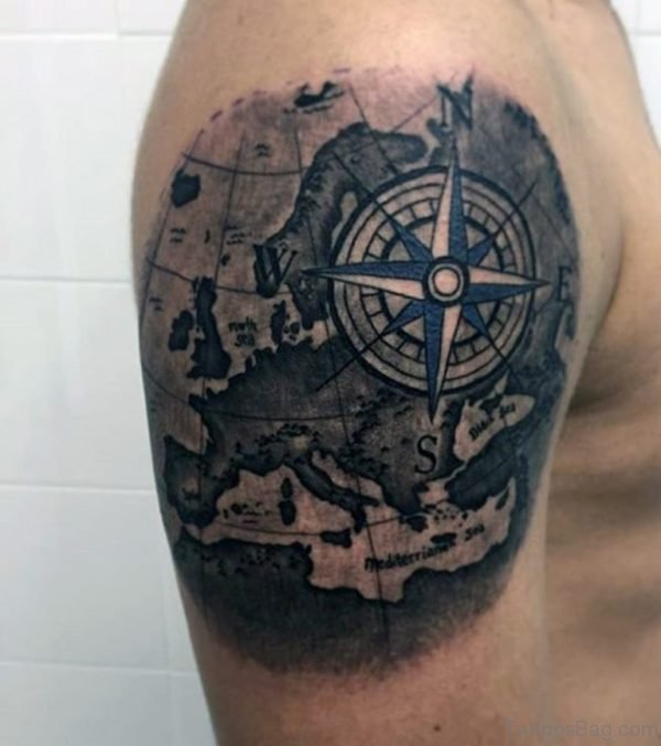 Compass And Map Tattoo Design