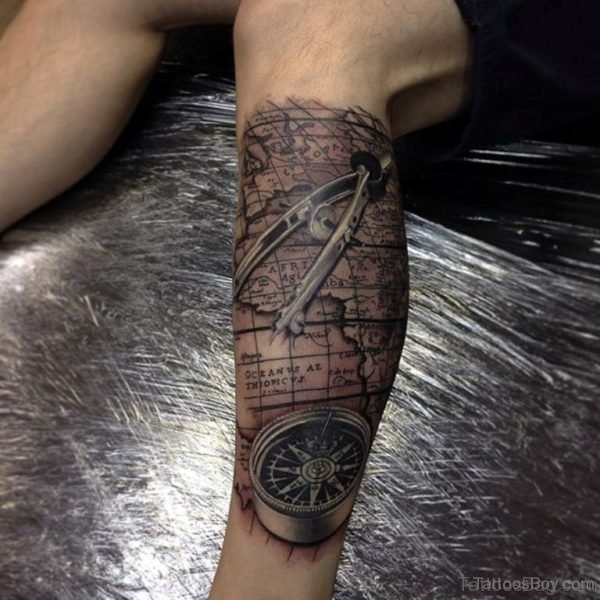 Compass And Map Tattoo On Leg