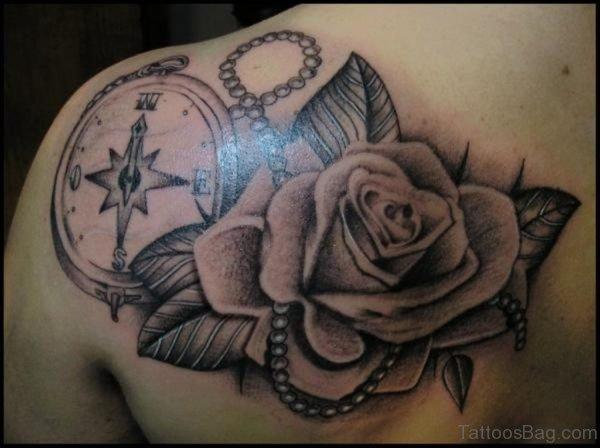 Compass Rose Tattoo On Back Shoulder