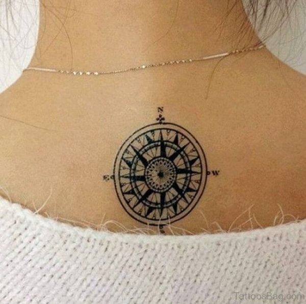 Compass Tattoo Below Neck