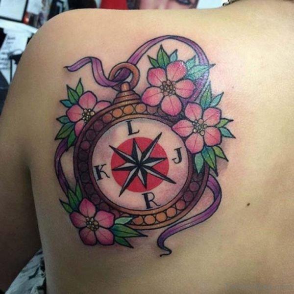 Compass Tattoo Design On Back Shoulder