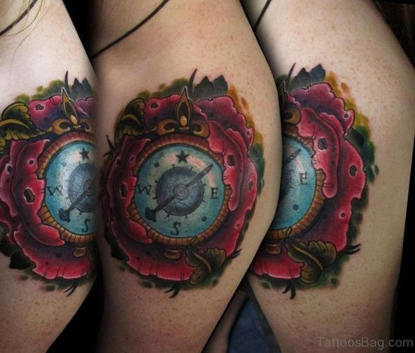 Compass Tattoo Design On Shoulder