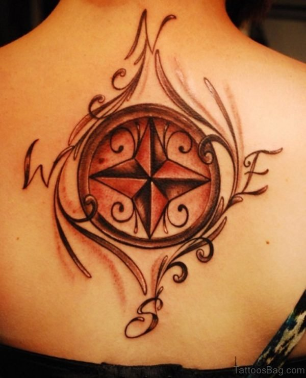 Compass Tattoo On Back For Women