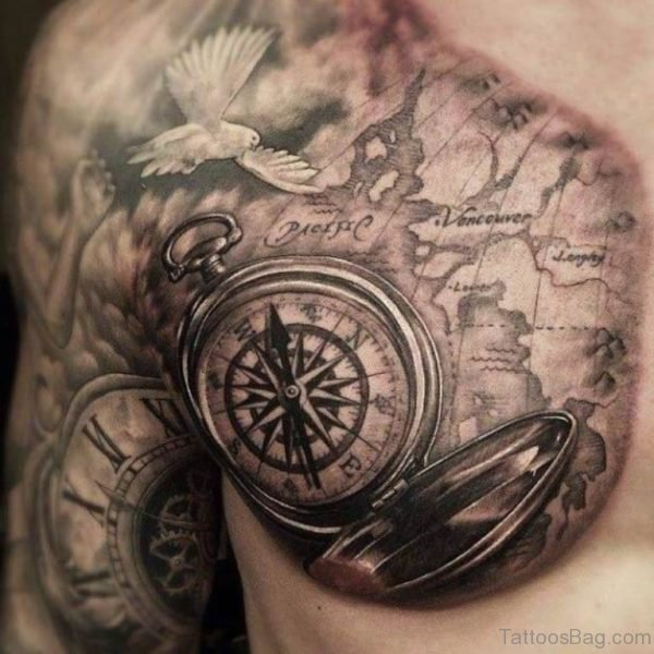 Compass Tattoo On Chets