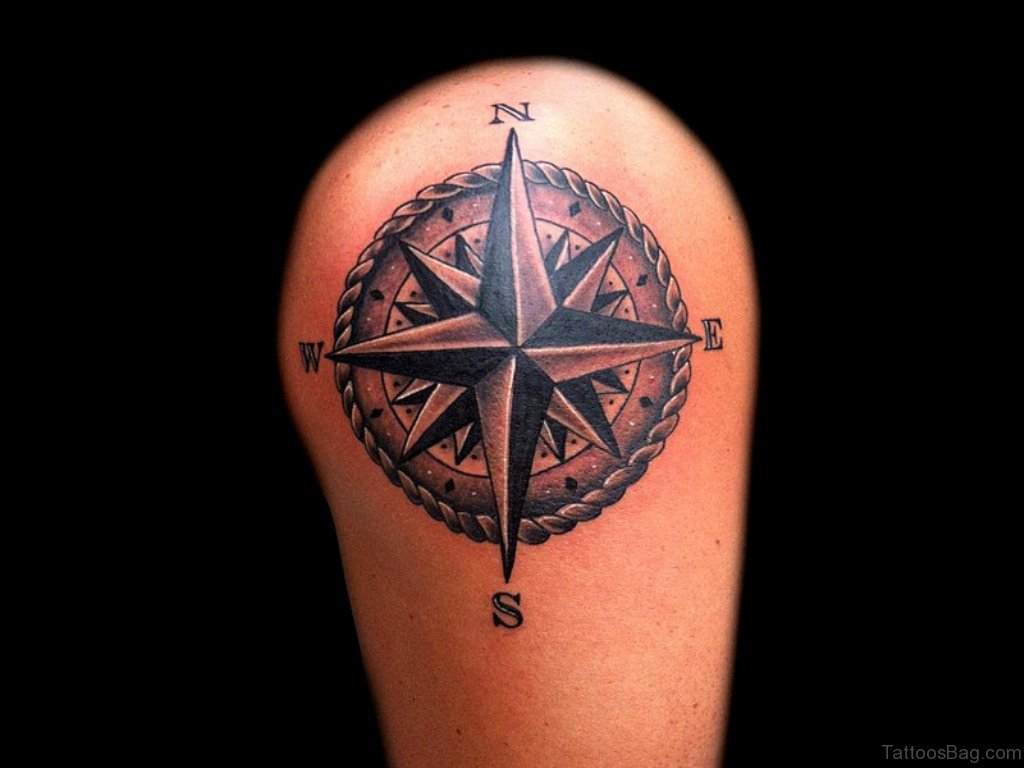 50 amazing compass tattoos on shoulder. Black Bedroom Furniture Sets. Home Design Ideas