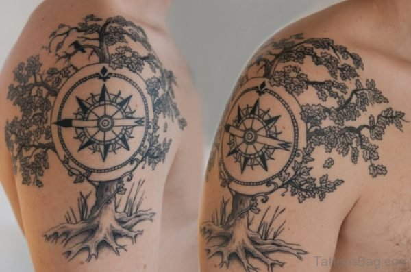 Compass Tree Shoulder Tattoos For Men