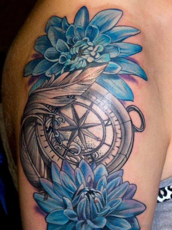 Compass With Dahlia Flowers Tattoo On Right Shoulder