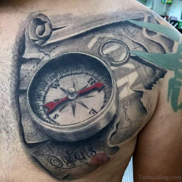Compass With Map Tattoo