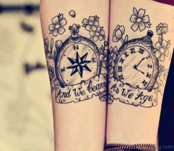 Compass and Clock Tattoo