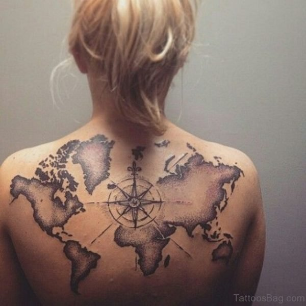 Compass and Map Tattoo on Womans Back