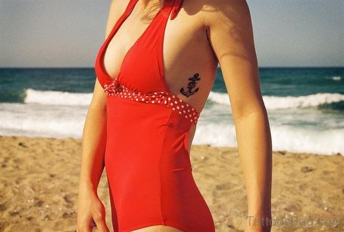 Cool Anchor Tattoo On Rib