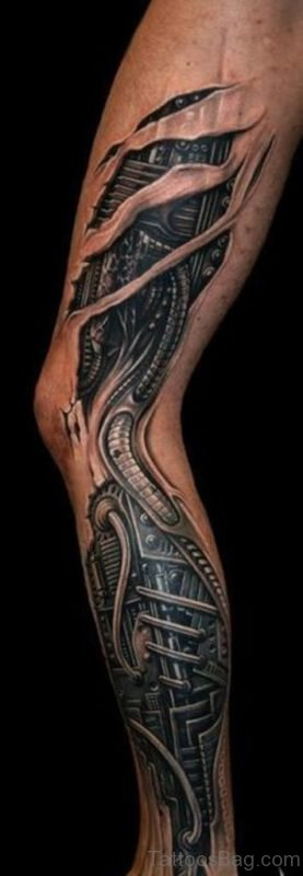 Cool Biomechanical Tattoo